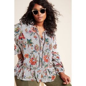 Anthro Maeve Janie Floral Spotted Flounce Blouse